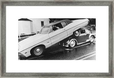 High End Auto Accident Framed Print by Underwood Archives