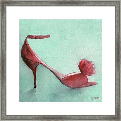 High Heel Red Shoes Painting Framed Print by Beverly Brown