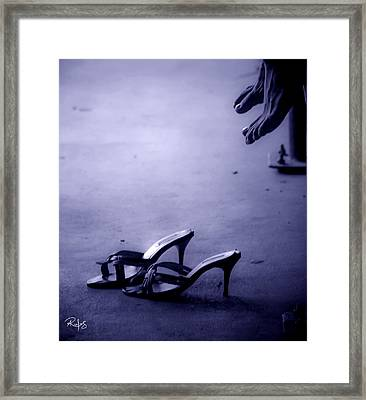 High Heel Shoes Waiting In The Moonlight Framed Print by Allan Rufus
