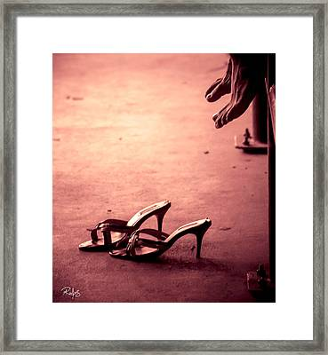 High Heel Shoes Waiting On The Pavement Framed Print by Allan Rufus