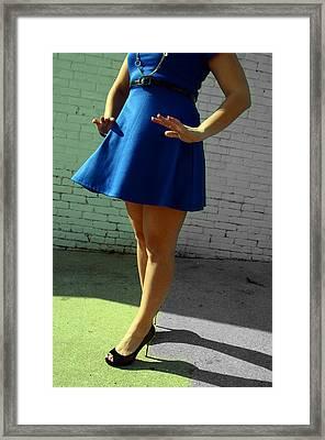 High Heels And A Blue Skirt Framed Print