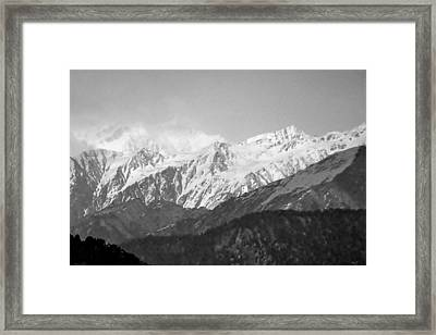 High Himalayas - Black And White Framed Print by Kim Bemis