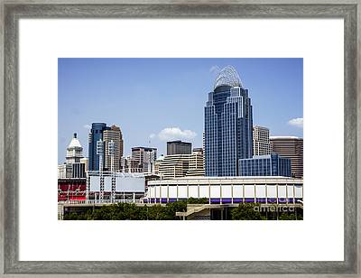 High Resolution Photo Of Cincinnati Skyline Framed Print by Paul Velgos