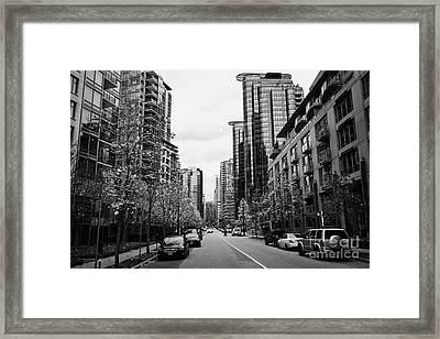 high rise apartment condo blocks in the west end west pender street Vancouver BC Canada Framed Print by Joe Fox