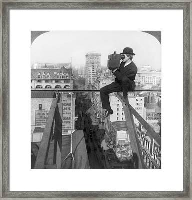 High Rise Photographer Framed Print by Underwood & Underwood