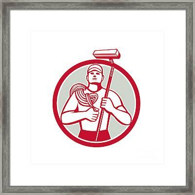 High Rise Window Cleaner Circle Retro Framed Print by Aloysius Patrimonio