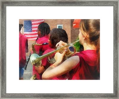 High School Band At Parade Framed Print by Susan Savad