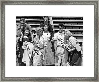 High School Students Hang Out Framed Print by Underwood Archives