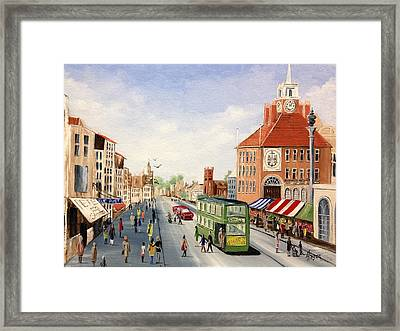 Framed Print featuring the painting High Street by Helen Syron