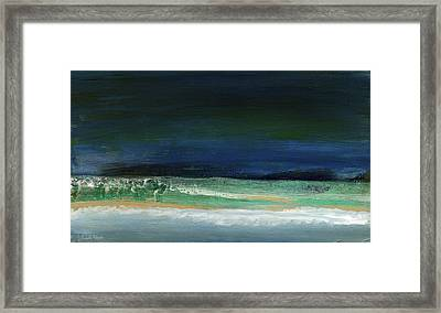High Tide- Abstract Beachscape Painting Framed Print by Linda Woods