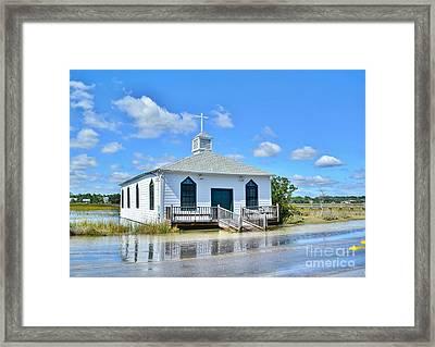 High Tide At Pawleys Island Church Framed Print by Kathy Baccari