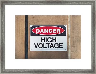 High Voltage Sign Framed Print by Hans Engbers