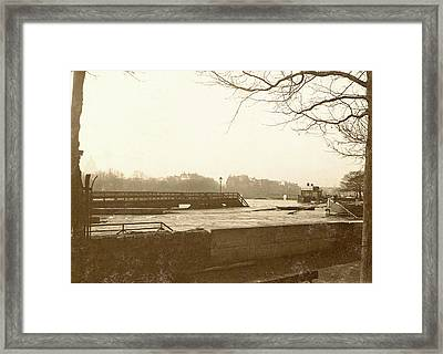 High Water In The Seine In Paris, In The Foreground A Quay Framed Print