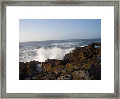 High Wave At The Oregon Coast Framed Print by Yvette Pichette