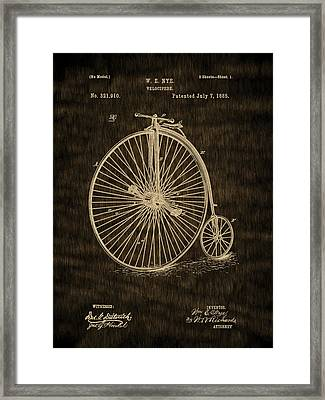 High Wheel Bicycle - 1885 Velocipede Vintage Patent Framed Print by Barry Jones