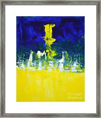 Higher Mind Blue Lemon Yellow Abstract By Chakramoon Framed Print by Belinda Capol