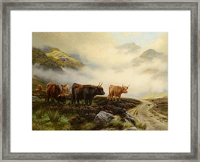 Highland Cows In A Pasture Framed Print by Wright Barker