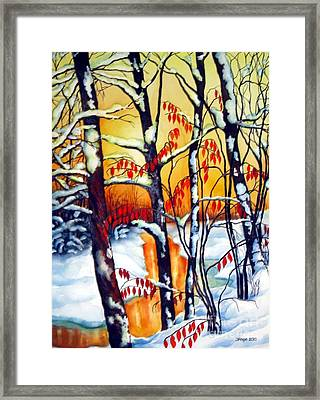 Framed Print featuring the painting Highland Creek Sunset 2  by Inese Poga