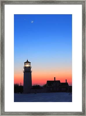 Highland Lighthouse And Moon Venus Mars Conjunction Framed Print by John Burk