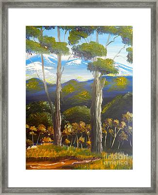 Highlands Gum Trees Framed Print by Pamela  Meredith