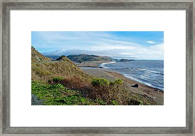 Highway 1 Near Outlet Of Russian River Into Pacific Ocean Near Jenner-ca  Framed Print