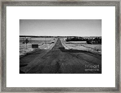 highway 34 near bengough towards badlands and us border Saskatchewan Canada Framed Print by Joe Fox