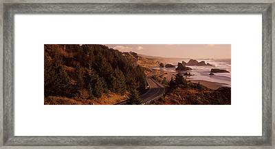 Highway Along A Coast, Highway 101 Framed Print by Panoramic Images
