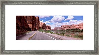 Highway Along Rock Formations, Utah Framed Print by Panoramic Images