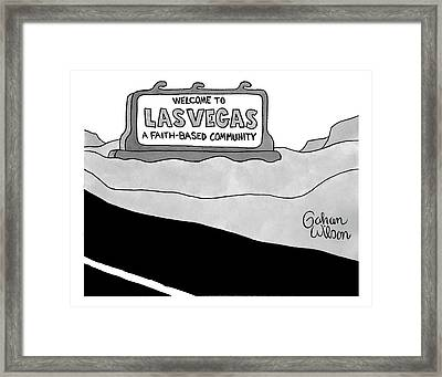 Highway Sign That Says Welcome To Las Vegas Framed Print