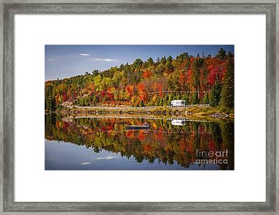 Highway Through Fall Forest Framed Print