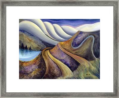 Highway With Fog Framed Print