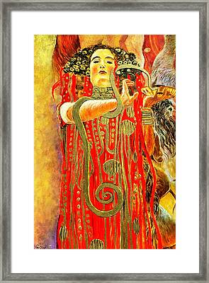 Higieja-according To Gustaw Klimt Framed Print