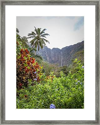 Hiilawe And Hakalaoa Falls Framed Print