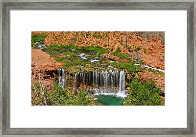 Hike Into Havasupai  Framed Print by Michael J Bauer