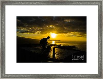 Framed Print featuring the photograph Hiker @ Diamondhead by Angela DeFrias