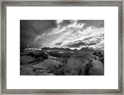 Hiker At Alabama Hills Framed Print by Cat Connor