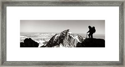 Hiker, Grand Teton Park, Wyoming, Usa Framed Print