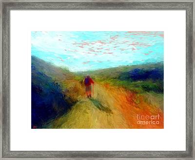Hiker On Path Framed Print by Gerhardt Isringhaus