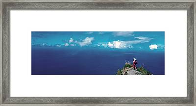 Hiker Pali Kokee State Park Kauai Hi Usa Framed Print by Panoramic Images