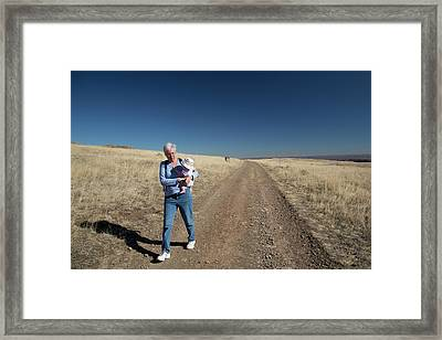 Hiker With Baby Framed Print