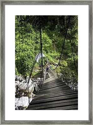 Hikers At Old Kurt Shafer Bridge, Uganda Framed Print
