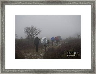 Hikers Going Into The Fog At Dolly Sods Framed Print by Dan Friend