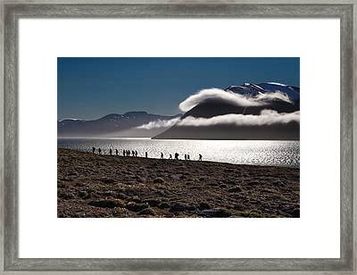 Hikers In The High Arctic Framed Print by June Jacobsen