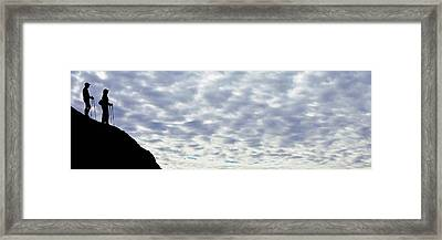 Hikers On Mountain, Red Rock State Framed Print by Panoramic Images