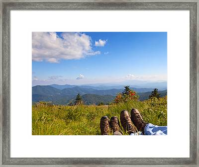 Hikers With A View On Round Bald Near Roan Mountain Framed Print by Melinda Fawver