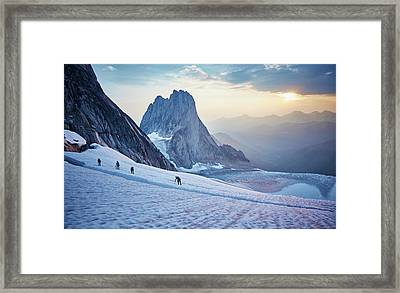 Hiking Around A Crevice Of West Ridge Framed Print by Geoff George