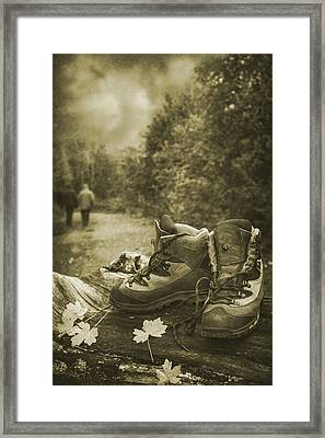 Hiking Boots Framed Print by Amanda Elwell