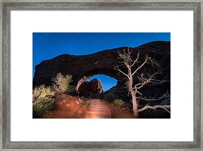 Hiking North Window Arch Framed Print by Michael J Bauer