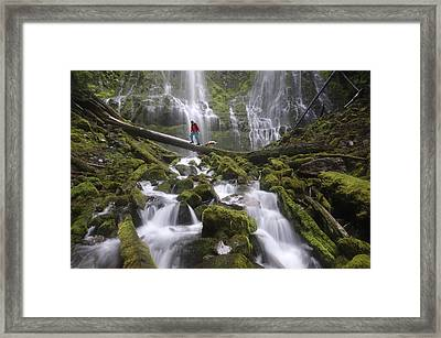 Hiking The Falls Framed Print by Christian Heeb