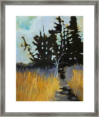 Hiking The Winter Trail Framed Print by Nancy Merkle